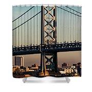 Ben Franklin Bridge Over Delaware River Shower Curtain