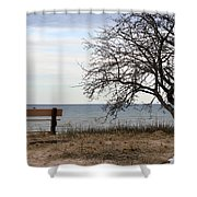 Bench And Beach Shower Curtain