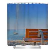 Bench And Fountain  Shower Curtain