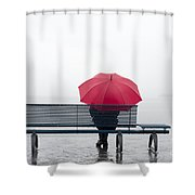Bench And Umbrella Shower Curtain