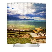 Bench At Kaikora With Approaching Storm Shower Curtain