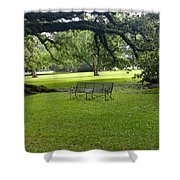 Bench At Oak Alley Plantation Shower Curtain