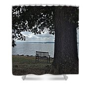 Bench At Old Jamestown Shower Curtain