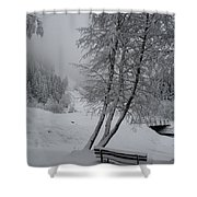 Bench In The Snow Shower Curtain