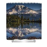 Bench Lake Sunrise Shower Curtain