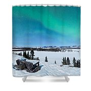 Bench Looking On Lake Laberge With Northern Lights Shower Curtain