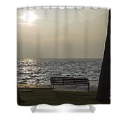 Bench On A Foggy Lake Front Shower Curtain