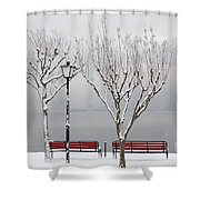 Bench On Lakefront In Winter Shower Curtain
