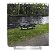 Bench On Shore Of River Ness In Inverness Shower Curtain