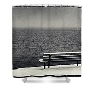 Bench On The Winter Shore Shower Curtain