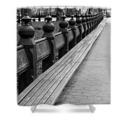 Bench Row Black And White Shower Curtain