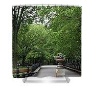 Bench Rows In Central Park  Nyc Shower Curtain