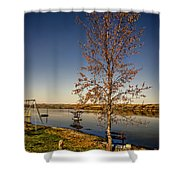 Lonely Friends - Bench And Tree Shower Curtain
