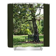 Bench Under The Magnolia Tree Shower Curtain