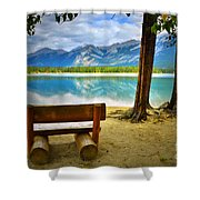 Bench View At Lake Edith Shower Curtain