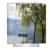 Bench With Trees On A Flooding Alpine Lake Shower Curtain