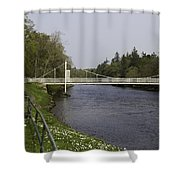 Benches And Suspension Bridge Over River Ness Shower Curtain