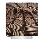 Benches At Meteor Crater In Arizona Shower Curtain