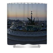 Benches At Parc Guell Shower Curtain