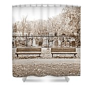 Benches By The Cemetery In Sepia Shower Curtain