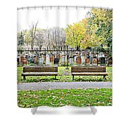 Benches By The Cemetery Shower Curtain