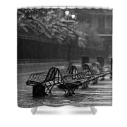 Benches In The Rain Bw Shower Curtain