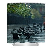 Benches In The Rain Shower Curtain