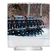 Benches In The Snow Shower Curtain