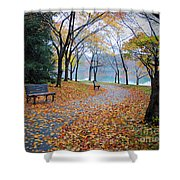 Benches Of Fall Shower Curtain