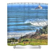 Benches On The Beach Shower Curtain
