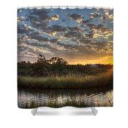 Bend In The Bayou Sunrise Shower Curtain