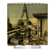 Beneath The Tower   Number 2 Shower Curtain by Diane Strain