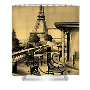 Beneath The Tower   Number 6 Shower Curtain by Diane Strain