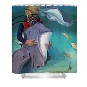 Benevolent Creatures At Stingray City Shower Curtain