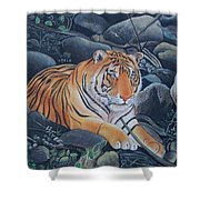 Bengal Tiger Wild Life Realistic Painting Water Color Handmade Artwork India Uk Shower Curtain