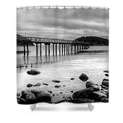 Bennet Bay Pier Black And White Shower Curtain