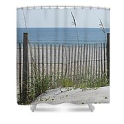 Bent Beach Fence Shower Curtain