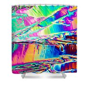 Benzoic Acid Crystals In Polarized Light Shower Curtain