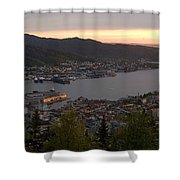 Bergen Sunset Panorama Shower Curtain by Benjamin Reed
