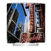 Berghoff Restaurant Sign In Downtown Chicago Shower Curtain