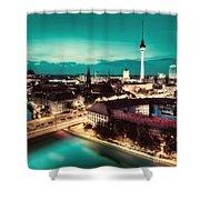 Berlin Germany Major Landmarks At Night Shower Curtain