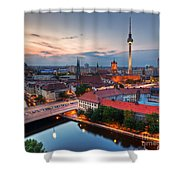 Berlin Germany Major Landmarks At Sunset Shower Curtain