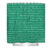 Berlin In Words Algae Shower Curtain