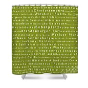 Berlin In Words Olive Shower Curtain
