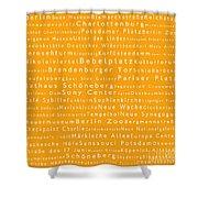 Berlin In Words Orange Shower Curtain
