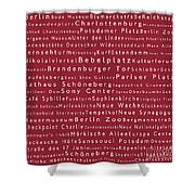 Berlin In Words Red Shower Curtain