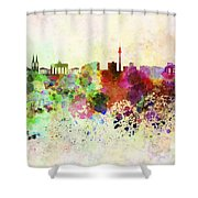 Berlin Skyline In Watercolor Background Shower Curtain
