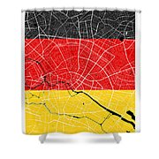 Berlin Street Map - Berlin Germany Road Map Art On German Flag Background Shower Curtain