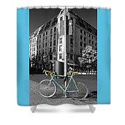 Berlin Street View With Bianchi Bike Shower Curtain