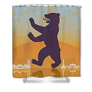 Berlin Vintage Poster Shower Curtain
